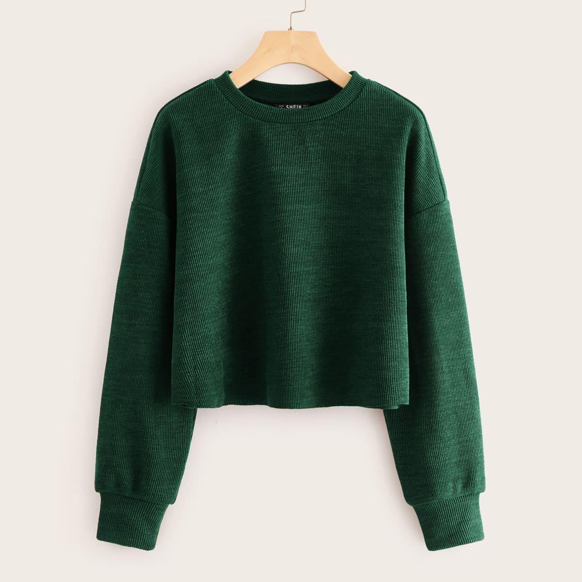 Groen Casual Vlak Sweatshirts Geplisseerde