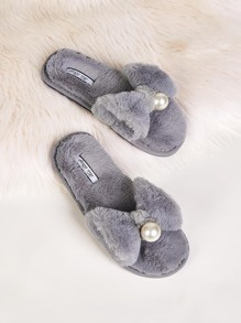 Pearl & Bow Decor Faux Fur Slippers