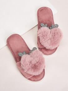 Rhinestone Decor Faux Fur Open Toe Slippers