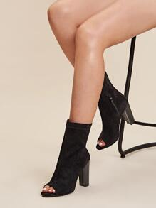 Peep Toe Side Zip Chunky Heels