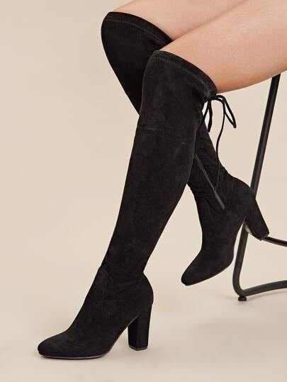 Tie Back Side Zip Over The Knee Chunky Boots