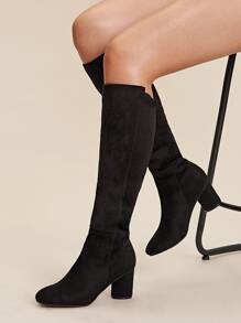 Knee Length Chunky Heeled Boots