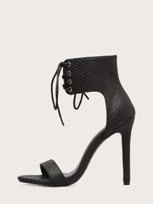 Croc Embossed Lace-up Stiletto Heels