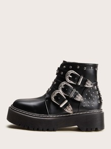 Studded & Buckle Decor Lug Sole Boots
