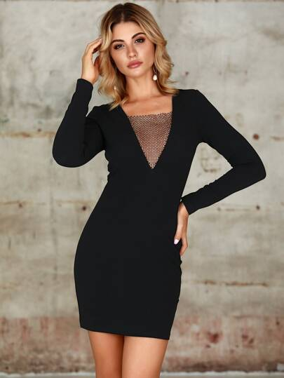 Double Crazy Contrast Mesh Rhinestone Bodycon Velvet Dress