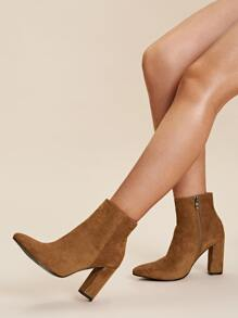 Side Zip Suede Chunky Boots