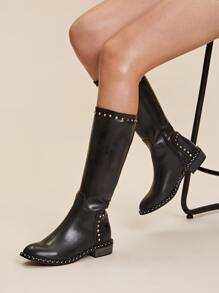 Studded Decor Mid Calf Boots