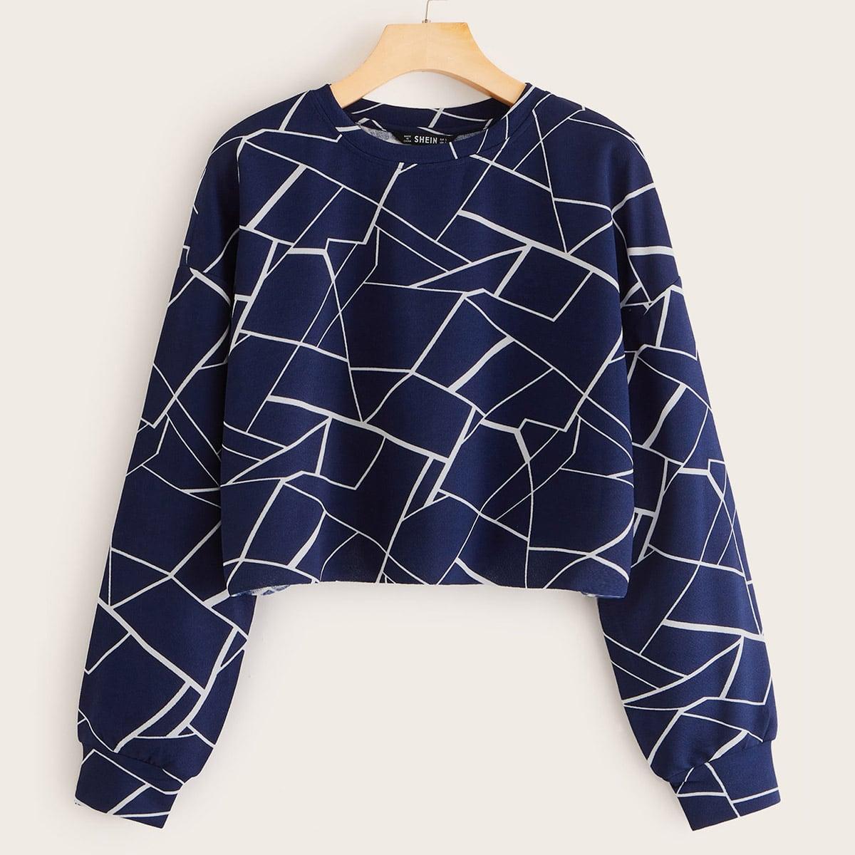 Пуловер с геометрическим принтом