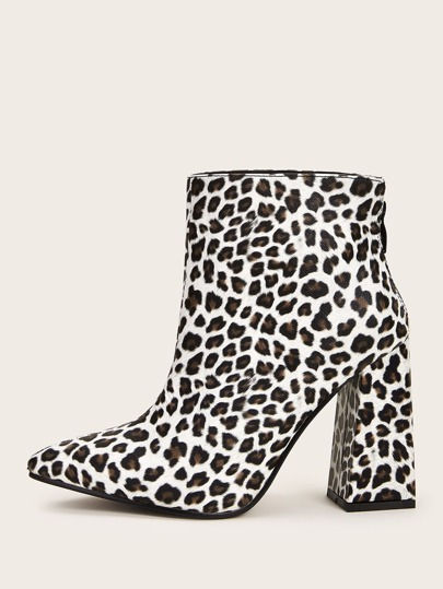 Point Toe Leopard Print Chunky Boots