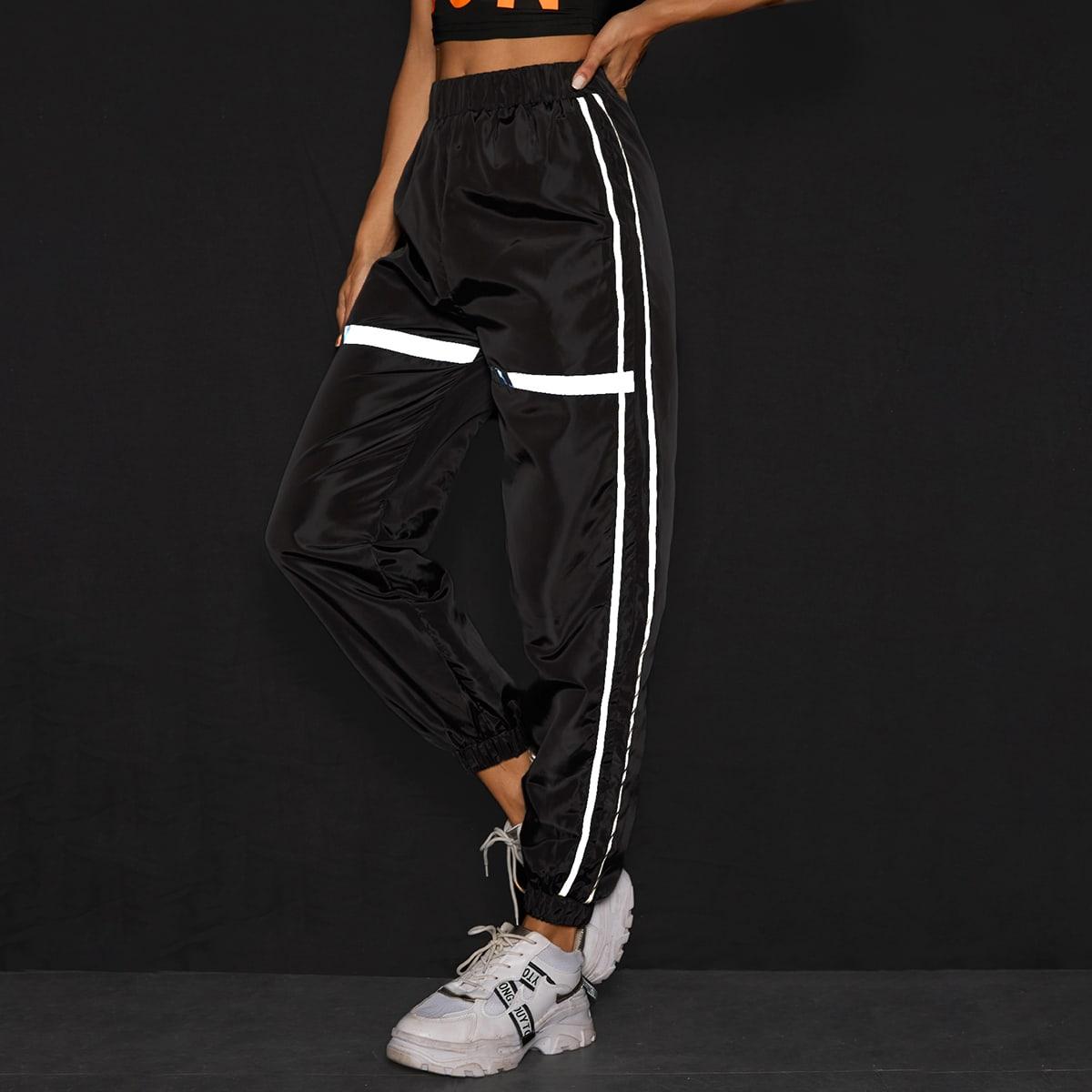 Контрастные светоотражающие брюки с эластичной талией