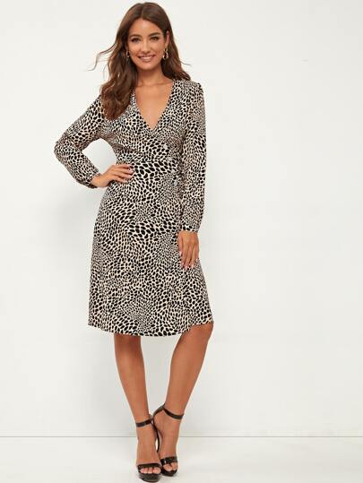 Allover Print Surplice Front Buttoned A-line Dress