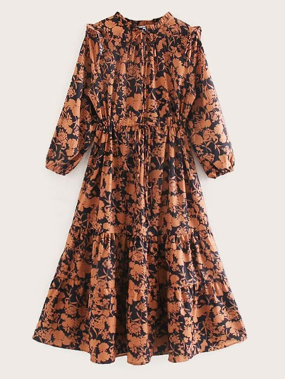 Frill Trim Drawstring Waist Ruffle Hem Floral Dress