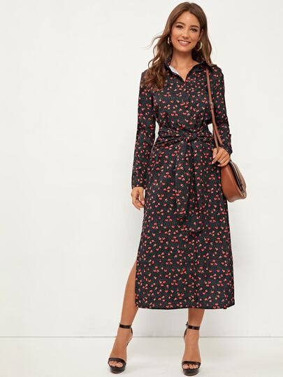 Split Thigh Tie Front Ditsy Floral Shirt Dress