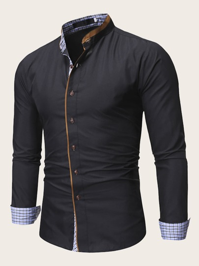 Men Button Up Contrast Placket Shirt