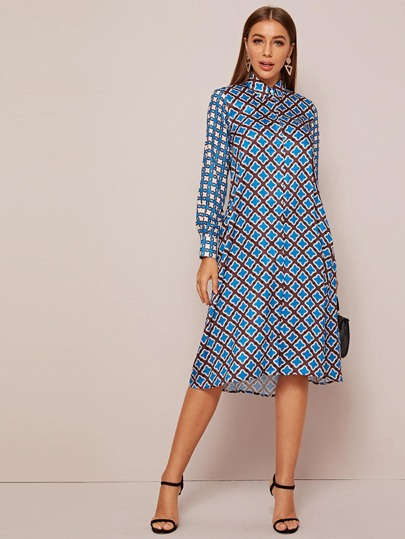 Pocket Side Allover Print Shirt Dress