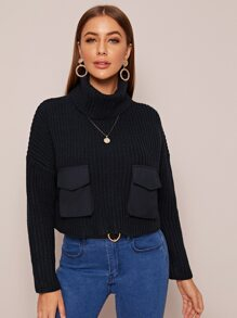 High Neck Ribbed Knit Pocket Front Jumper