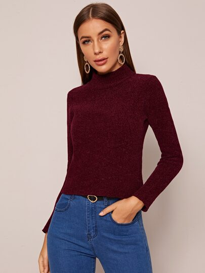 High Neck Ribbed Knit Solid Sweater