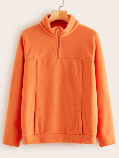 Neon Orange Zipper Pocket Sweatshirt