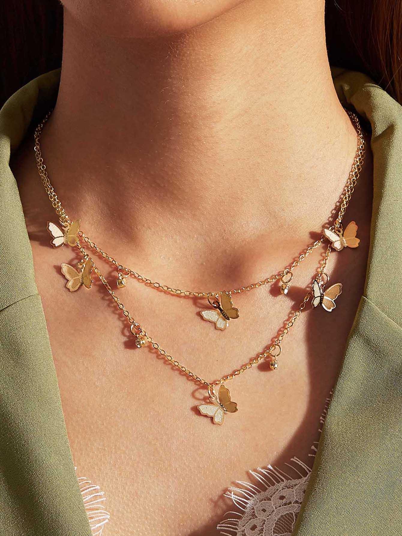 Двухслойное ожерелье с бабочкой и стразами 1штswneck03191016467