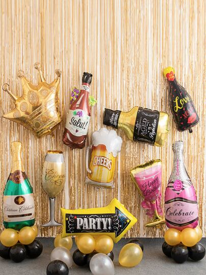 1pc Champagne Bottle & Cup Shaped Balloon
