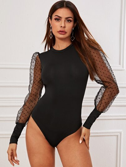 Puff Mesh Sleeve Fitted Bodysuit