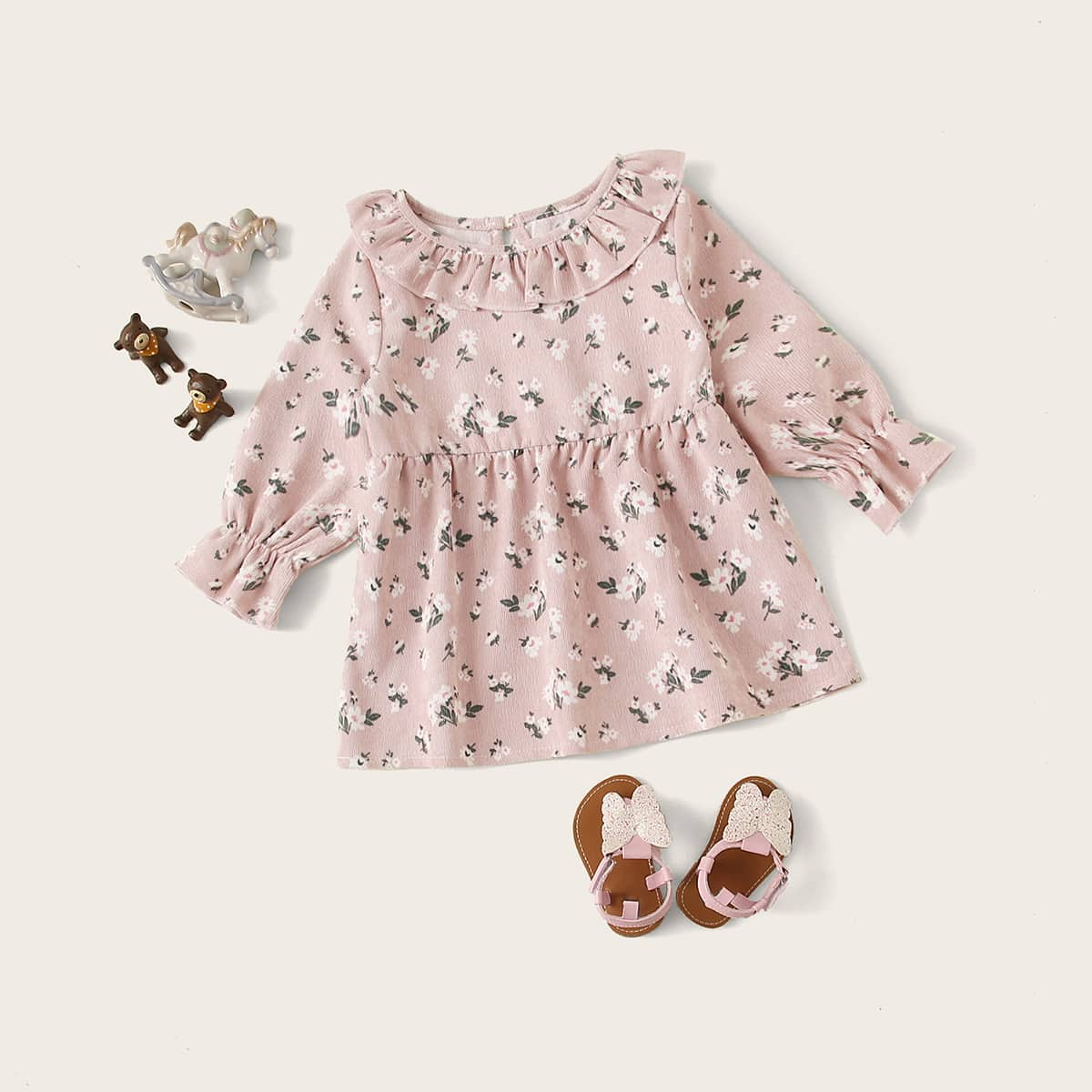 shein Roze  Schattig Bloemen Baby-jurkjes Rimpeling