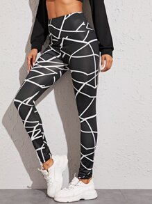 Geo Print Wide Band Waist Leggings