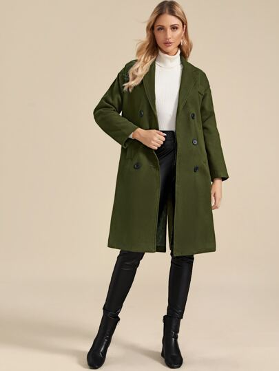 Lapel Collar Double Breasted Tweed Coat