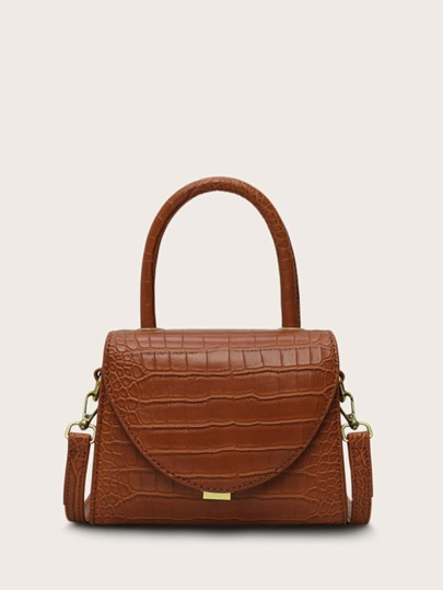 Croc Embossed Flap Satchel Bag