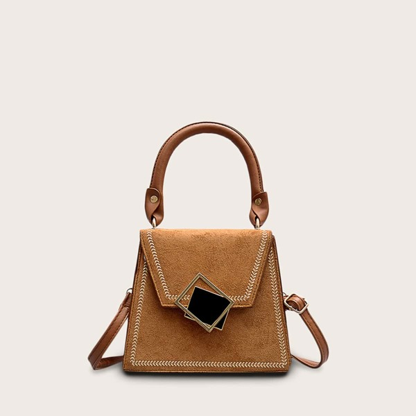 Geometric Decor Stitch Trim Satchel Bag, Brown