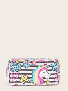 Striped & Unicorn Pattern Makeup Bag