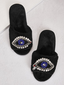 Rhinestone Decor Open Toe Fluffy Slippers