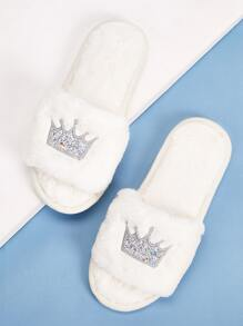 Glitter Crown Embroidered Slippers
