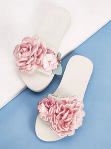 Open Toe Floral Applique Sliders