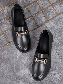 Metal Decor Faux Leather Loafers