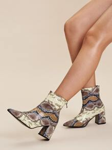 Point Toe Snakeskin Chunky Boots