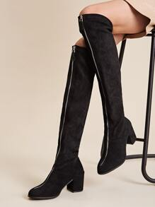 Zip Front Chunky Heeled Knee Length Boots