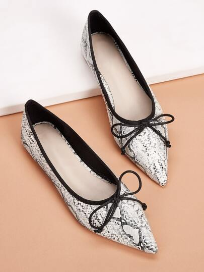 Point Toe Snakeskin Flats