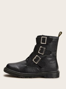 Buckle Strap Textured Ankle Boots