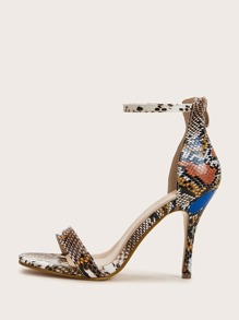Two Part Ankle Strap Snakeskin Stiletto Heels