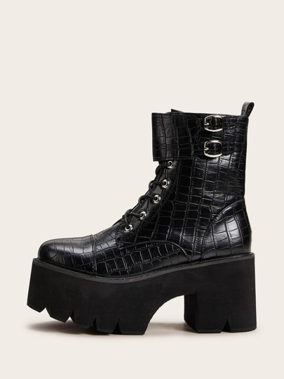 Croc Embossed Platform Chunky Boots