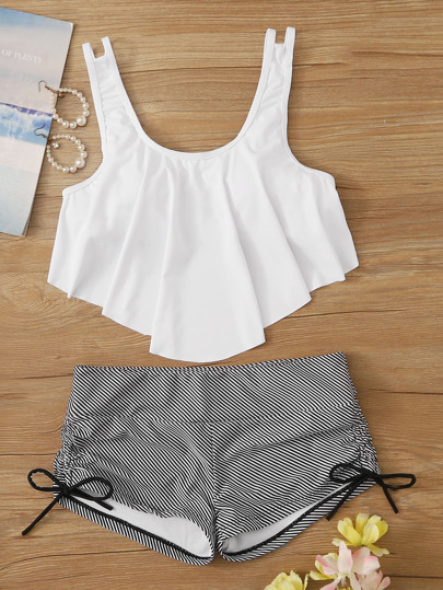 2pcs Hanky Hem Top With Striped Shorts Bikini