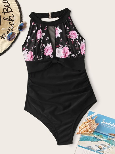 Floral Print Contrast Mesh One Piece Swimwear