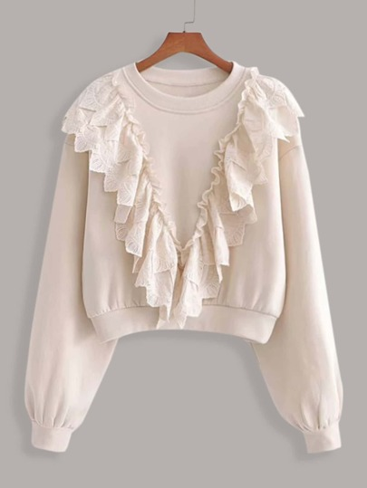 Contrast Ruffle Trim Drop Shoulder Sweatshirt