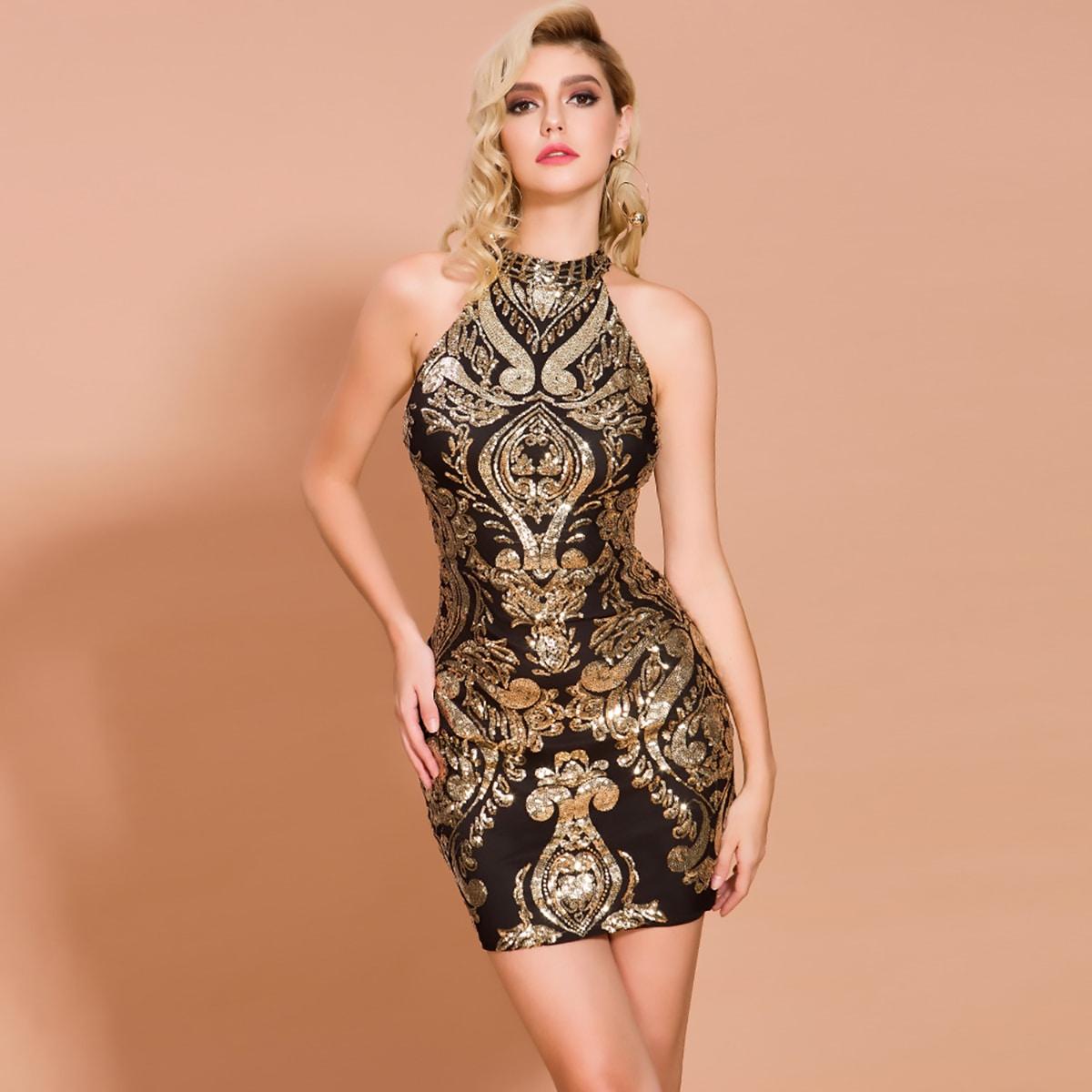 Halterneck Damask Sequin Bodycon Dress