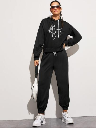 Hand Graphic Drawstring Hoodie & Drawstring Waist Sweatpants