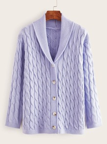Solid Cable Knit Button Through Cardigan