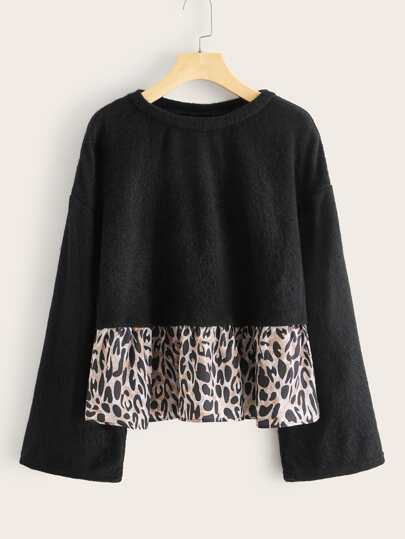 Leopard Panel Ruffle Hem Fuzzy Sweater