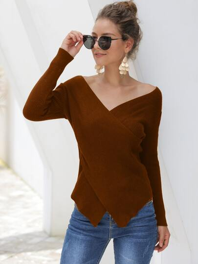 Ribbed Knit Criss Cross Wrap Sweater