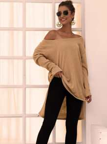 Solid High Low Hem Longline Sweater